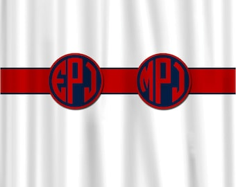 Custom Personalized Shower Curtain -Shown White with Red and Navy Blue Divider and CIrcle Monograms