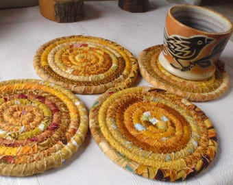 Gold Bohemian Coiled Coasters - Set of 4 - Handmade by Me