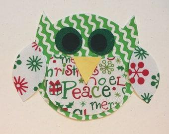 Chubby Fabric Iron On Christmas Owl Applique