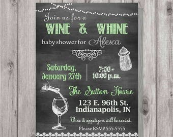 ON SALE Digital Chalkboard Style Baby Shower Green Wine & Whine Invitation Personalized Printable