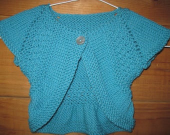 Hand Knit Baby Sweater Shrug Sweater Size 6 to 12 Months Aqua Wool Baby Gift Free US Shipping
