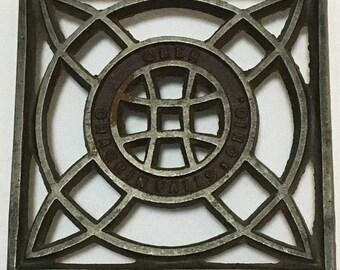 Ober Antique Cast Iron Trivet, 1890-1916, Celtic Knot Design, Sad Iron/Flat Iron Trivet, Vintage Iron Holder, Laundry Room Decor