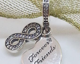 New authentic Pandora charm Forever Friends Infinity Dangle 791948CZ~ Clear zirconia + box