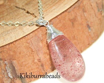 Strawberry Quartz Necklace,Gemstone Necklace,Quartz Necklace,Pink Gemstone Necklace,Red Fire Quartz,Mothers Necklace,Birthday Gift