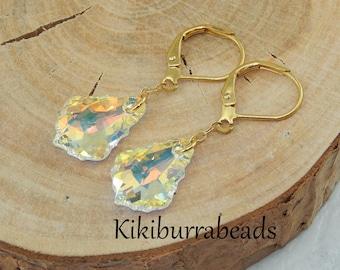 Baroque Earrings,AB Earrings,Gold Filled,Swarovski Earrings,Crystal Earrings