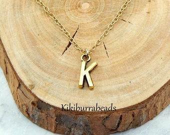 Initial Necklace,Gold Initial Necklace,Charm Necklace,Monogram Necklace,Letter Necklace,Alphabet Charm,Layering Necklace,Minimal Jewelry