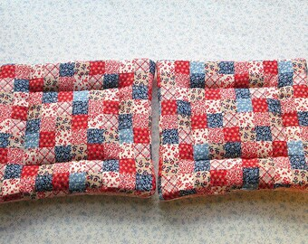 pink calico vintage fabric hand quilted set of 2 potholders hot pads