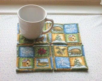 over the river and thru the woods to grandmothers house we go vintage fabric hand quilted set of mug rugs coasters