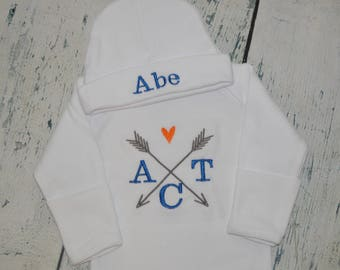 Personalized Arrow Infant Gown and Cap set Monogrammed Coming Home Outfit - Newborn Tribal Gown and Hat