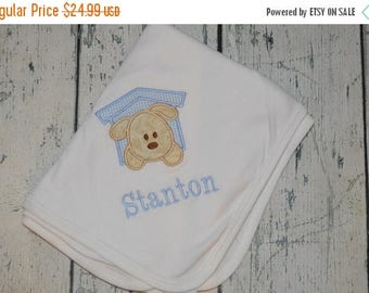 ON SALE Personalized Puppy Baby Receiving Blanket  Monogrammed