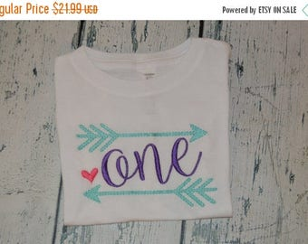 ON SALE Personalized Tribal First Birthday Shirt or Bodysuit - One With Arrows and Heart Monogrammed