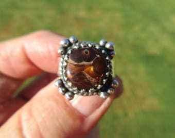 HALLMARK of a HANDSOME HAUL -  Sterling Silver Mexican Fire Agate Ring - Size 8 3/4 - Free Resizing