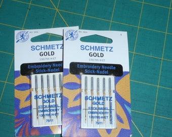 Schmetz Gold Titanium Embroidery Needles 75/11 Per Package 5