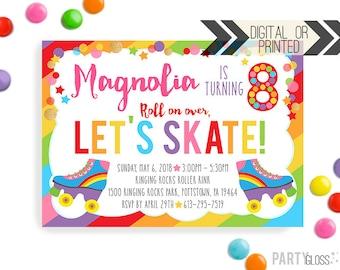 Roller Skating Invitation | Digital or Printed | Skating Birthday Invitation | Rollerskating Invitation | Skate Invite | Rainbow Skating