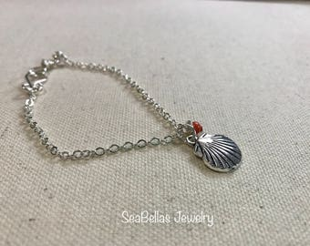 Shell charm bracelet and pair of earrings set, silver plated,Coral Swarovski Pearl, handmade , weddings, bridal party gifts