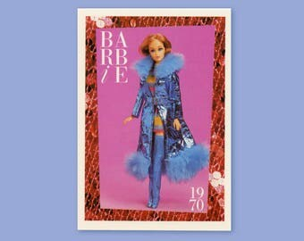 """Barbie Collectible Trading Card - """"Maxi 'N Mini"""" 1970 - Card No. 95 for Barbie collectors, dioramas, Barbie Fur Maxi Coat and Boots"""