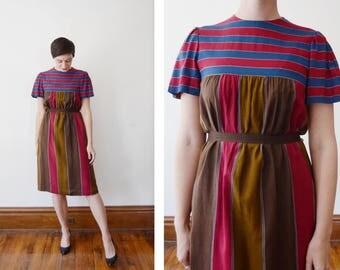 1970s Striped Rayon Dress - S