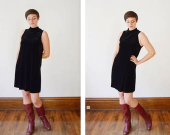 1990s Black Stretch Velvet Turtleneck Dress - M/L