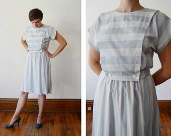 1980s Blue Striped Summer Dress - S/M