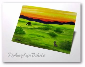 WildlifeWonder Rabbit - Sunset Landscape Wild Horse- Original ACEO Painting wd260