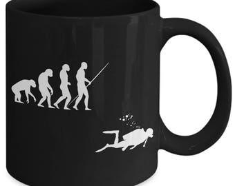 Evolution Of Man Diver Funny Coffee Mug