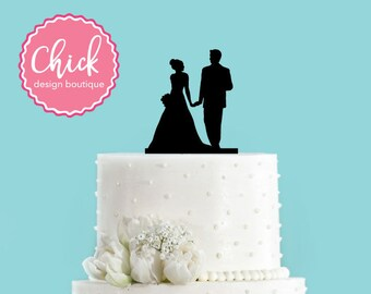 Couple Holding Hands with Bouquet Acrylic Wedding Cake Topper