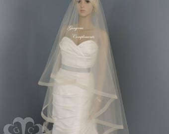 "1"" Horsehair Trim, Wedding Drop Veil,Bridal Veil, Illusion Tulle, Blush, White, Ivory, Champagne, Light Ivory, Off White"