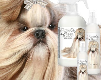 Blissfully Clean Dogs SHINE-ON + SHEEN Dog Coat Spray Leave-In Conditioner, De-Tangler, De-Matter & Coat Polish 4 oz, 8 oz, 16 oz Bottle