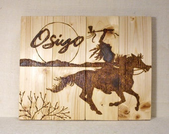 Osiyo Native American Indian pyrography wood burning art work handmade by R.W. Cherokee approximately 11x14 reclaimed wood ready to ship