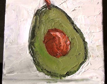 Miniature Impressionist Oil Painting 4x4 Plein Air California Avocado Lynne French Art