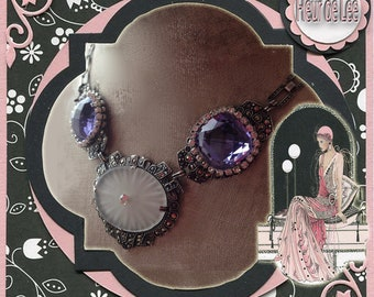 Romantic Amethyst Art Deco and Campher Glass Silver Vintage Necklace