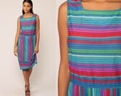 70s Midi Dress Striped Dress Retro 80s High Waist Bohemian Vintage Sleeveless Summer Slouchy Blue Red Pink Boho Medium