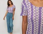 Bodysuit Top Sheer Shirt 70s Boho Outfit CUTOUT KNIT Leotard Top Purple Mod Hippie BOYSHORT Hipster Retro Short Sleeve Vintage Large