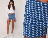 Swim Shorts High Waisted Shorts Boyshort Bikini Bottom 60s Mod Geometric HOT PANTS Swim Trunks Vintage Bathing Suit 70s Blue Extra small xs