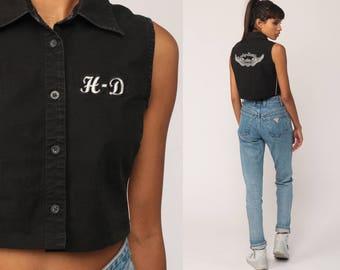 Harley Davidson Tank Top Biker Shirt Crop Top Motorcycle Shirt Vintage 90s Tee Black Button Up Sleeveless Small