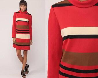 Striped Dress 60s Mod Mini Dress TURTLENECK Gogo Red Vintage 70s Shift Twiggy 1970s Long Sleeve High Collar Minidress Medium Large