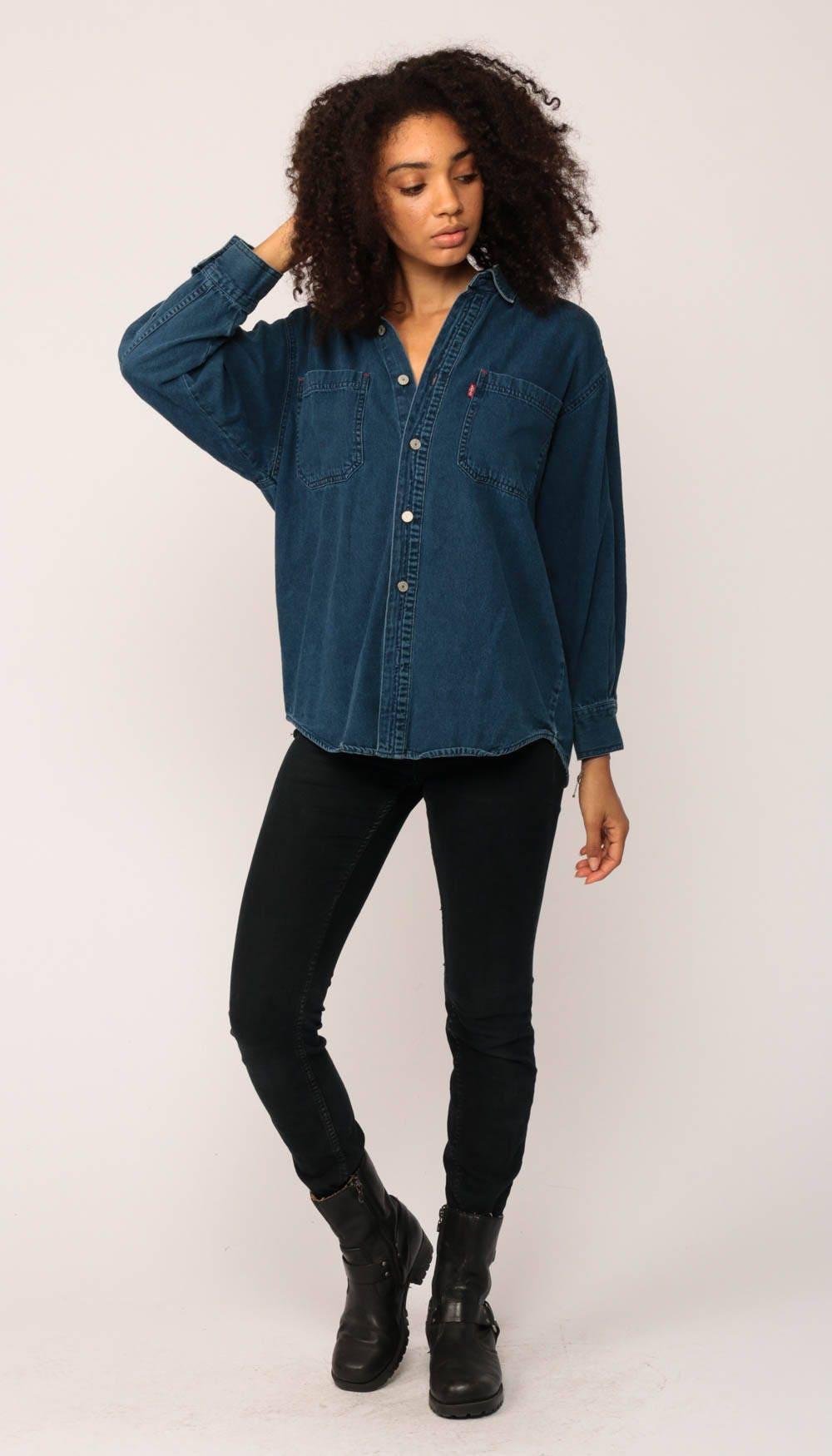 levis denim shirt grunge button down 90s levi jean blue long. Black Bedroom Furniture Sets. Home Design Ideas