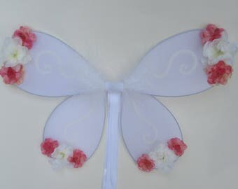 Pink blossom, white floral fairy wings, flower girl, glitter fairy princess, enchanted wedding, OOAK
