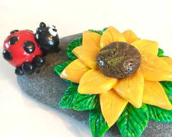 Polymer Clay Ladybug with Sunflower