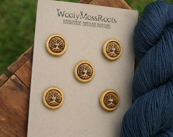5 Yellow Tree Buttons- Yellowheart Wood- Wooden Buttons- Eco Craft Supplies, Eco Knitting Supplies, Eco Sewing Supplies