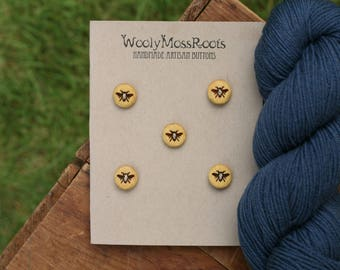 5 Wood Honeybee Buttons- Yellowheart Wood- Wooden Buttons- Eco Craft Supplies, Eco Knitting Supplies, Eco Sewing Supplies
