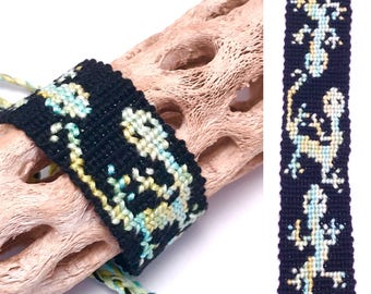 Friendship bracelet - lizards - cuff - wide - black - green - embroidery floss - knotted - macrame - woven - thread - braided