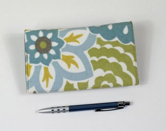 Floral Checkbook Cover with Pen Holder for Duplicate Checks - Aqua Blue and Golden Yellow Flowers on Cotton Fabric