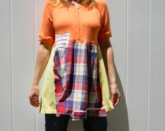 Upcycled Women Short Sleeve Top Tunic Dress Loose Women Top Wearable Art Bohemian Clothing Women Dress MEDIUM