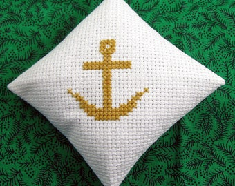 Anchor Chrismon Christmas Ornament in Cross Stitch White and Gold