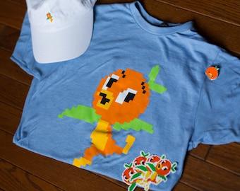 Pixel Disney Orange Bird - Unisex Baby Blue Tshirt - Give Kids the World Fundraiser