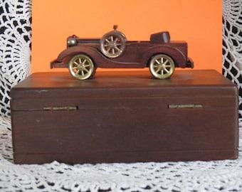 Vintage  Wood Men's Jewelry Keepsake- Ring Holder Trinket box Old Model Car