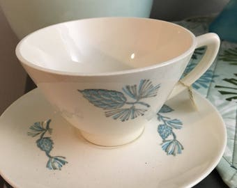Vintage Stetson Marcrest Blue Spruce Cup and Saucer