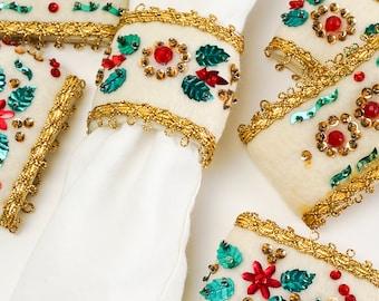 Vintage 1960s Handmade Christmas Napkin Rings Set of 6 Cream Felt Red Green Sequins Beads Gold Trim