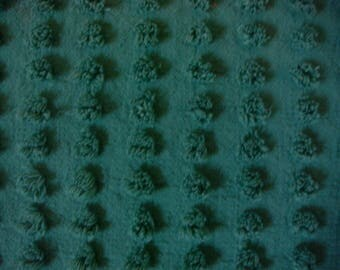 Bates Evergreen Pops Vintage Chenille Bedspread Fabric 12 x 24 Inches